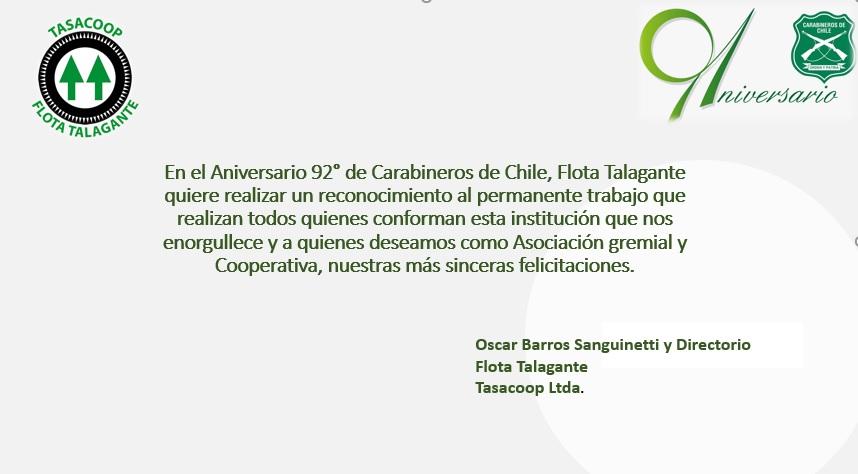 Flota Talaante saludo a Carabineros de Chile en su Aniversario 92°