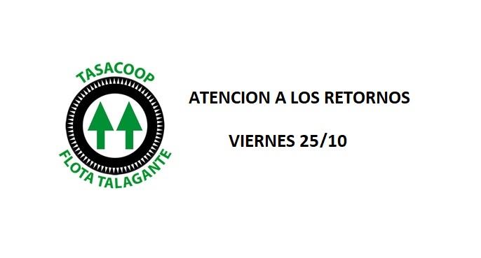 FLOTA TALAGANTE INFORMA HORARIOS DE RETORNO VIERNES 25/10