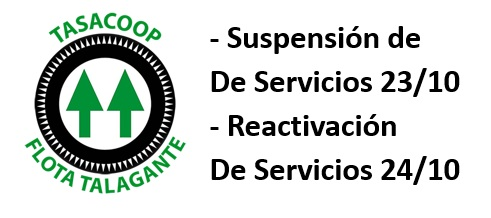 Atención pasajeros y usuarios Flota Talagante: Se mantiene suspensión miércoles 23 de octubre. Se reactivarán el jueves 24 de octubre.